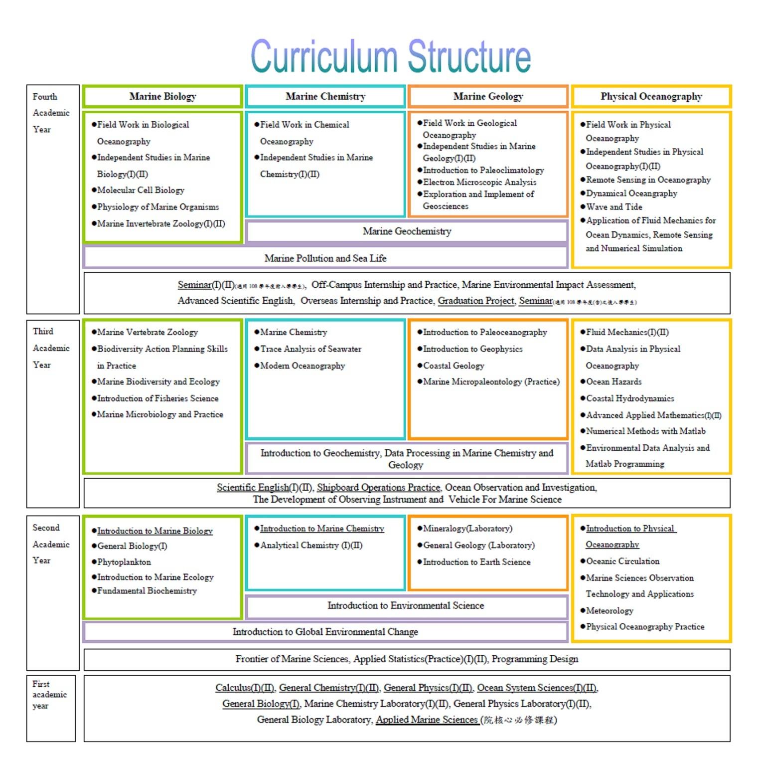 Diagram of the curriculum structure for the undergraduate program
